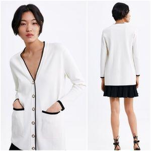 Zara long cardigan w/ faux pearl buttons